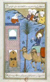 Lukisan Nabi Muhammad saw saat tiba di Mekah (gambar oleh Ishaq al-Nishapuri sekitar tahun 1581). Pesan komunikasi beliau efektif, penuh cinta dan kedamaian