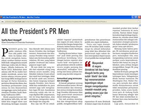 """Artikel """"All the President's PR Men"""": praktisi PR sering berselisih dengan wartawan"""