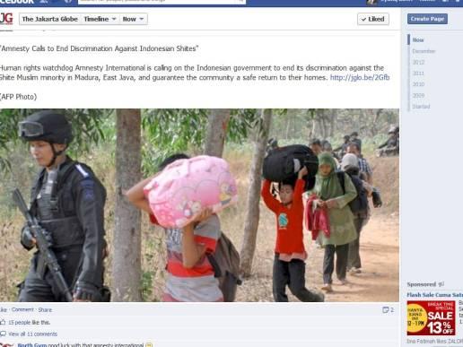 Pengungsi Sampang di berita Amnesty International yang dikutip The Jakarta Globe