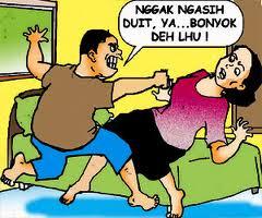 Contoh kekerasan dari orang tua (sumber kartun harian Pos Kota).