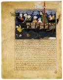 "Miniature from Hafiz-i Abru's Majma al-tawarikh. ""Noah's Ark"" Iran (Afghanistan), Herat; Timur's son Shah Rukh (1405-1447) ordered the historian Hafiz-i Abru to write a continuation of Rashid al-Din's famous history of the world, Jami al-tawarikh. Like the Il-Khanids, the Timurids were concerned with legitimizing their right to rule, and Hafiz-i Abru's ""A Collection of Histories"" covers a period that included the time of Shah Rukh himself. (Sumber: Wikipedia)."