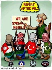 """Kartun """"Pemberontak"""" Wahhabi dari luar negeri yang mengacaukan situasi di Suriah."""