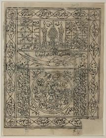 Hiasan kuno dengan Ayat Kursi, beberapa Asma Tuhan, dan kata-kata yang menyebut nama Ali bin Abithalib, serta lambang pedang Dzulfiqar.  Diduga benda antik buatan India abad ke 19.