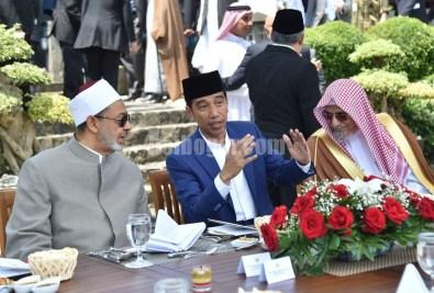 Sheikh Al-Azhar (kiri) bersama Presiden Jokowi dan ulama lain.